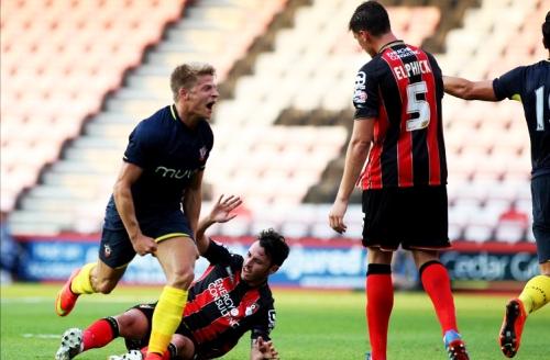 Southampton's Lloyd Isgrove celebrates scoring against Bournemouth in a pre-season friendly.